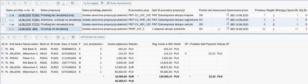 sumy dynamiczne w SAP
